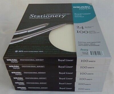 "600 Sheets Wausau Paper Royal Linen Ivory 24 LB. 8.5"" X 11"" New USA Professional"