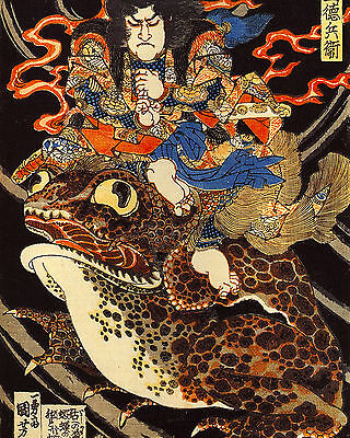 Samurai And Toad Japanese Warrior Superfrog Painting Real Canvas Art Print New