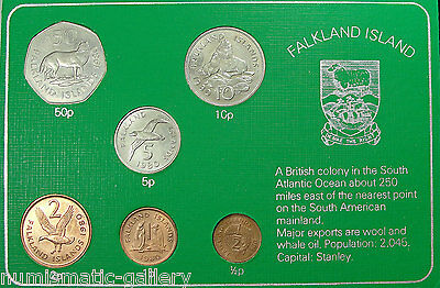 Falkland Islands 1980 6-Coin Mint Set 'animals' In Green Holder