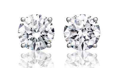 Sterling Silver Round CZ Stud Earrings Women Men Kids Cubic Zirconia Solitaire