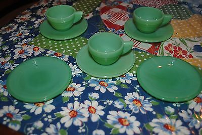 Akro Childs Jadeite Depression Cup Saucers 3 Tea Coffee Cups & 5 Saucers Vintage