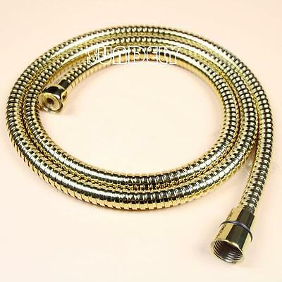 NEW 1.5 M Gold Shower Head Hose Pipe Bathroom Shower Hoses 1/2'' Stainless Steel