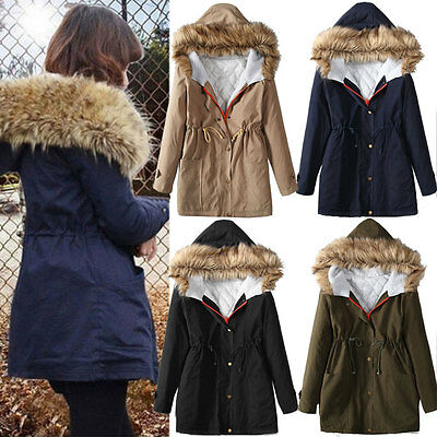 UK Womens Ladies Winter Faux Fur Hooded Warm Thick Parka Coat Jacket Size 8-18