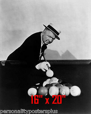 "WC Fields~Shooting Pool~Pool Hall~Billiards~#3~Poster~16"" x 20"" Photo"