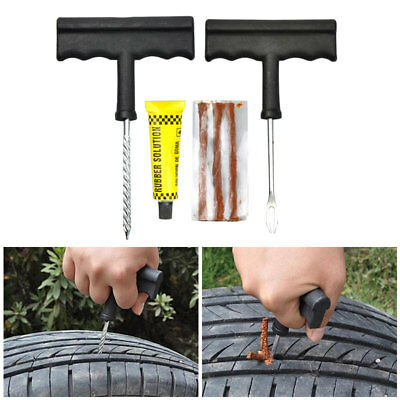 Motorcycle/Car Tubeless Tyre Puncture Repair Kit Tool Tire Plug Auto 8 In 1 Set