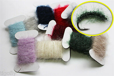 11 Cards Assorted Colors Ice Dubbing Dub Nymph Body Fly Tying Thread Materials