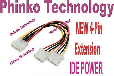** NEW ** Molex 4 pin Splitter Power Cable Extension IDE
