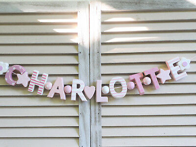 """Charlotte"" Pink Wooden Wall Letters Baby Shower Nursery Name Decor Shabby Chic"