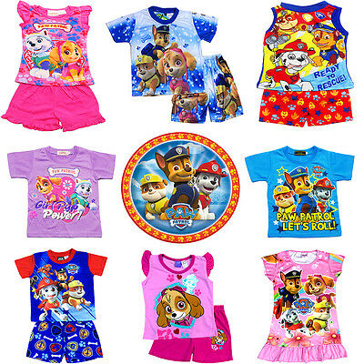 New Kids Pyjamas Summer Size 2-5 Sleepwear Paw Patrol T-Shirt Top Pjs Boys Night