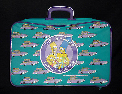 """VTG 90s THE SIMPSONS FAMILY VACATION TEAL PURPLE STATION WAGON 18""""x12"""" SUITCASE"""