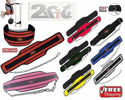 2Fit Dipping Belt Weight Lifting BodyBuilding GYM Exercise Dip Metal Chain Strap