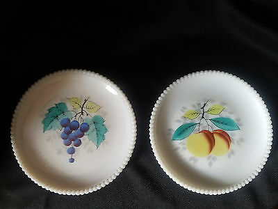 "Westmoreland Beaded Edge 2 Hand Painted Fruit 7 1/2"" Salad Plates, Peach/grapes"