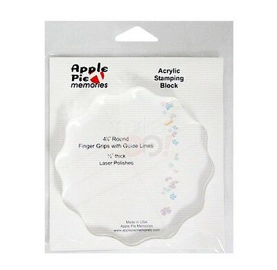 """Apple Pie Memories ACRYLIC STAMP BLOCK Grips & Guide Lines 4 1/4"""" Round Stamping"""