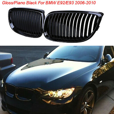 For BMW 2007-2010 E92 E93 328i 335i Grille Grill Gloss Black Front Bumper Hood