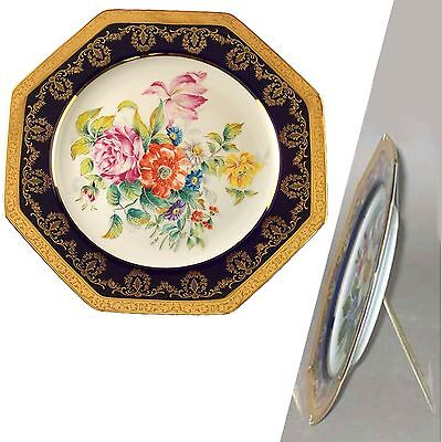"""Limoges china 10"""" mounted porcelain plate with stand collectable made in France"""