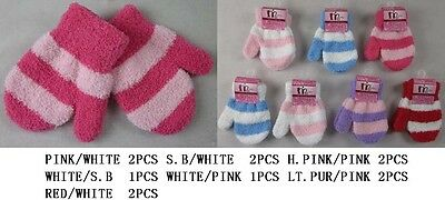 Infant/Toddler Striped Mittens   Wholesale 6 Pairs Lot   (Glv005 ^)