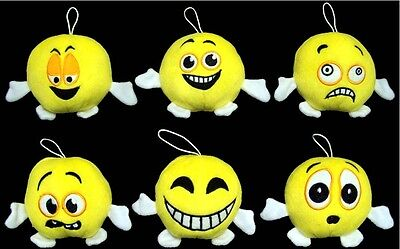 """Baby Goods:  Plush Bay Rattles  """"Smiley - Funny Faces"""" 6 Pc Lot  (Br75634  Z)"""