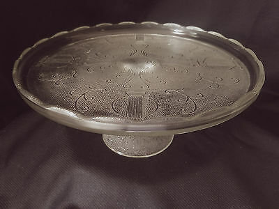 Jeannette Glass Harp Cake Stand Crystal With Scalloped Rim.