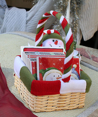Coasters Christmas SnowMan Basket full of Christmas Drink Coasters lot of 9