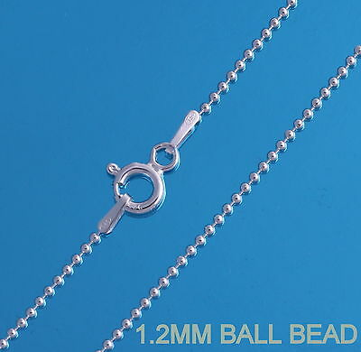 925 Sterling Silver 1.2mm Bead Ball Chain Necklace 16 18 20 22 24 26 28 30""