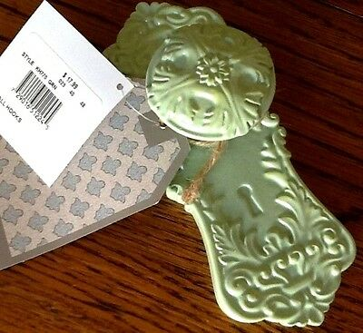 "(2)  Decorative Wall Hooks,   MINT / SAGE GREEN  ""MANY USES""     FREE SHIPPING"
