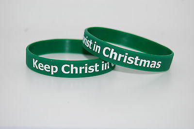KEEP CHRIST IN CHRISTMAS Green Silicone Christian Wristband Bracelet