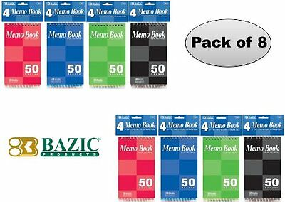"""Set of 2 BAZIC 50 Sheets 3"""" X 5"""" Top Bound Spiral Memo Books (4/Pack)"""