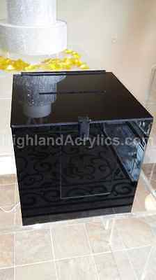 Wedding Card Acrylic Box with Slot in Classic Polished Black