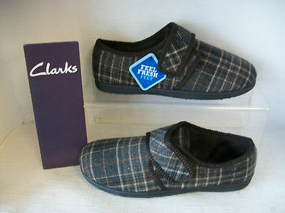 Mens Clarks Slippers King Switch Brown Check