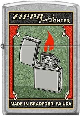 Zippo Windproof Lighter Made In Bradford, Green Poster, Old Ad Street Chrome New