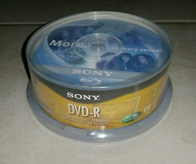 Sony Recordable DVD-R 25 Pack 120 Min 4.7 GB Sealed Disk DVD Office Supplies New