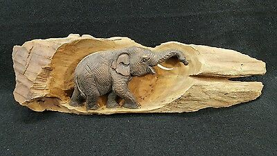 Handcrafted Wood Carving Thai Elephant #3