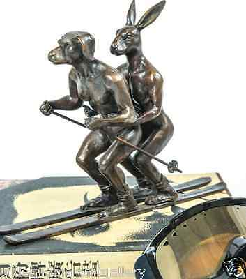 GILLIE AND MARC-direct from the artists-authentic bronze sculpture skiing snow