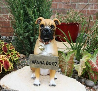 "13.25"" Tall Large Fawn Boxer Pet Dog Garden Greeter Statue With Jingle Collar"