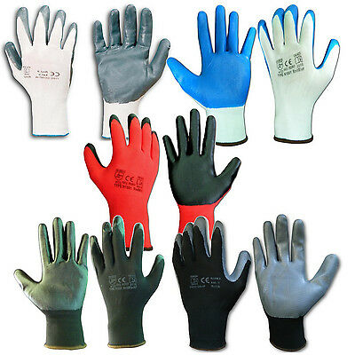 Nitrile Coated Work Gloves Safety Grip Construction Gardening Sizes Colours CAT2