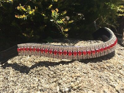 Browband Bling Red and  White Crystal Brow Band -  Warmblood Full Cob Pony
