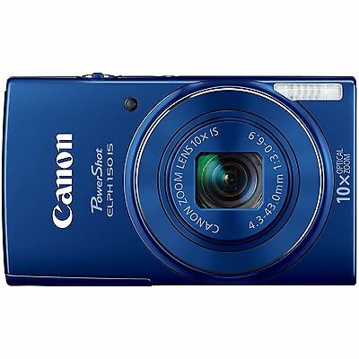 Canon PowerShot ELPH 150 IS 20MP Digital Camera 10x optical zoom (Blue)