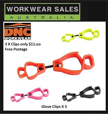 Glove Clips Set Of 3. Choice of colour. Work Safety. Free Post Aust Seller