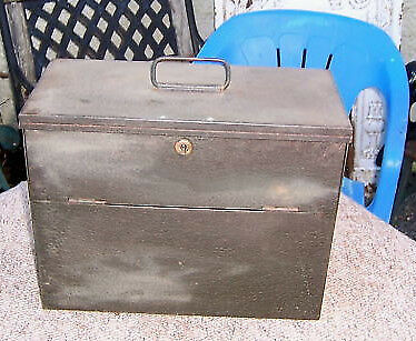 Metal Box with Lock & Key Ideal Deed Box Ex Army? see d