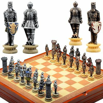 Historic Medeival Knights themed  Chess Set. Resin Pieces  Wood Board & Box