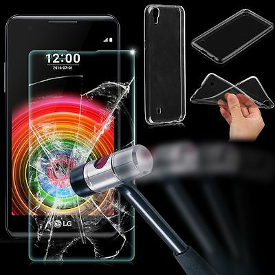 Clear TPU Transparent Case Cover +Tempered Glass Screen Protector For LG X Power