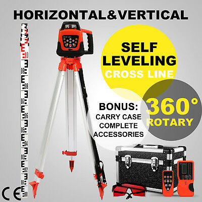 Rotary Red Laser Level+Tripod+Staff 5 Degree Range Electronic Self Leveling