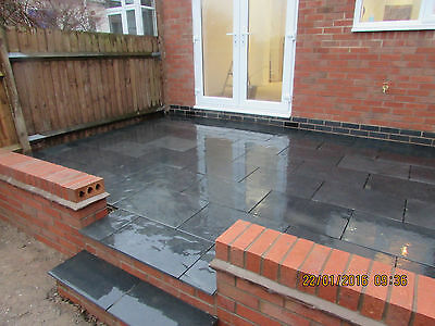 Natural BlackSlate Paving Slabs Garden Patio 600 x 400 20 m2 Bundle 15mm thick