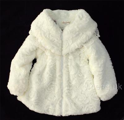 Gorgeous Girl's Faux Fur Jacket with Lace on Collar/Cozy/Winter/Cream/Pink