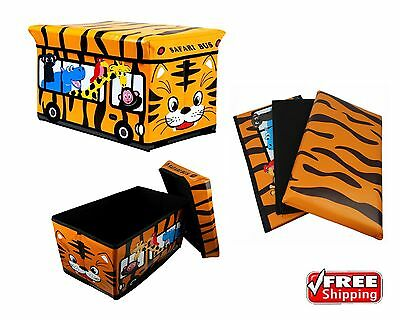 Storage Toy Padded Kids Box Bench Seat Animals Safari Bus Childrens Play Chest