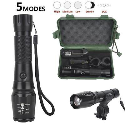 New Zoomable 5000LM CREE XM-L T6 LED 7 Modes Flashlight Torch+Mount+Charger+Case