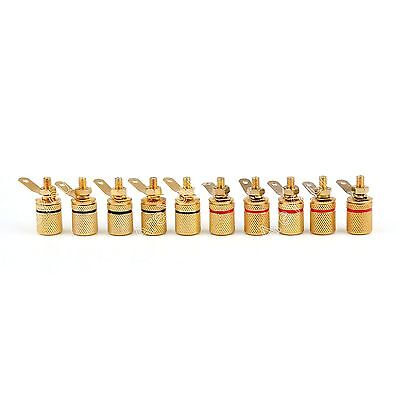 10 Pcs Gold Plated Binding Post Amplifier Speaker Audio Connector Terminal S02