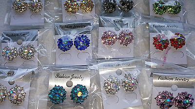 Joblot of 24 pairs Mixed colour  Diamante stud Earrings - NEW Wholesale