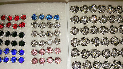 Joblot 48 pairs 5mm&8mm Hypoallergenic Diamante stud Earrings- NEW Wholesale 3