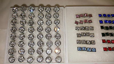 Joblot 48 pairs 4mm&7mm Hypoallergenic Diamante stud Earrings- NEW Wholesale 4